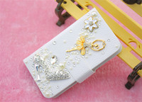 For Apple iPhone Diamond  White Luxury Diamond Bling Flip PU Leather Wallet Phone Case Cover Cases For Apple new iphone 6 2014 iphone 5 iphone 5s iphoen 5c