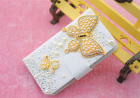 For Apple iPhone Diamond  White Fashion Luxury Diamond Bling Flip PU Leather Wallet Phone Case Cover Cases For Samsung Galaxy Note 3 2 S5 S4 S3 7106 iPhone 5 5S 5C 4 4S