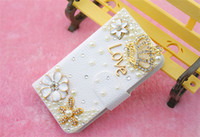 For Apple iPhone Diamond  White Luxury Diamond Bling Metal Flower Flip PU Leather Wallet Case Cover For Samsung Galaxy Note 3 2 S5 S4 S3 iPhone 5 5S 5C 4 4S I9600 I9500