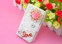 For Apple iPhone Diamond  White New arrival Fashion Luxury Diamond Metal Flower Flip PU Leather Wallet Case Cover For Samsung Galaxy Note 3 2 S5 S4 S3 iPhone 5 5S 5C 4 4S