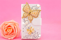 Wholesale Luxury Diamond Bling Metal Flower Flip PU Leather Phone Case Cover Cases For LG G2 G3 L40 L70 L90 lg l3 nexus5