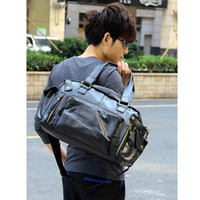 leather duffle bag - New Men s Fashion Hand bag PU Leather Gym Duffle Satchel Shoulder Travel Bag Handbag Dark Brown Black H9448