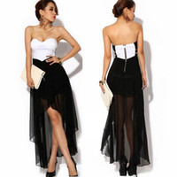 Casual Dresses bandeau - 2014 Fashion Women Sexy Corset Women s Dress Bandeau Strapless Chiffon Asymmetric Cocktail Party Dress Dress Black