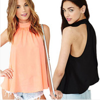 Cheap Stand Collar women chiffon blouse Best sleeveless Sleeveless women tops