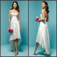 Wholesale 2014 High Low Beach Wedding Dresses Empire Strapless Front Knee Length Back Long Garden A Line Hi Lo Wedding Dresses with Beaded Appliques