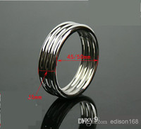 Steel Stainless Steel  Wholesale - New Men Stainless Steel Cock Ring Adult Chastity SM Fetish delayed gonobolia Bondage Toy Male Penis Chastity Ring 2 Size A509