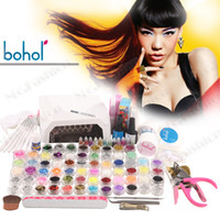 Wholesale Nail art decoration kit Caviar diamond shell glitter nail tool UV led lamp summer time U102