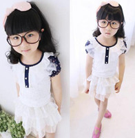 Girl Summer Long 2014 Summer New Arrival Children Super Cute Bubble Sleeve Tops Girls Charming White Floral Lace T-shirts Kids Bottom Tee Shirts I1068