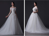 A-Line Reference Images V-Neck Custom Made Fabulous White Ivory Soft Tulle & Satin V-Neck Applique A-Line Wedding Dresses Bride Gown Chapel Train A013