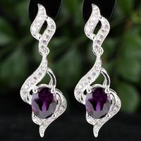 Dangle & Chandelier Purple Women's Women Oval 4-Line Purple Amethyst Sterling 925 Silver Piercing Dangle Earrings E085