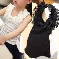 Wholesale 2014 New Arrival Kids Girl s Sleeveless Tanks Lace Vest Shirt Children Summer Bottoming Top Shirt T0527