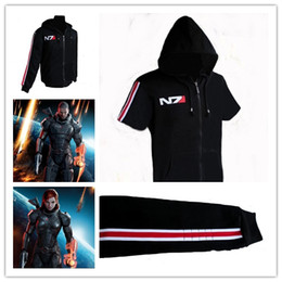Wholesale 2014 New Arrive High Quality Unisex Animation Game Mass Effect N7 Hoodies Sweatshirts COS Male and Female Thin Fleece men S Clothing