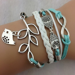 Wholesale - Free shipping !cross Infinity Anchor owl Branch love Bracelet bird believe faith courage Braided Leather Charm Bracelets