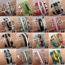 Wholesale Mix Style Infinite Believe Hunger Games Anchor Love Jesus Owl Multilayer Pattern Leather Bracelet