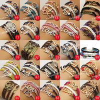 Wholesale Promotion price Muti Layer Braided Leather Handmade Bracelet Love Infinity Anchor ID Bracelet colors Freeshipping