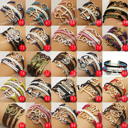 Free shipping! SD 999 styles Promotion price!Muti Layer Braided Leather Handmade Bracelet Love Infinity Anchor ID Bracelet 2colors