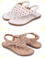 Wholesale 2014 Bohemian thong sandals shoes pinches the summer new beads flowers triangle flat shoes