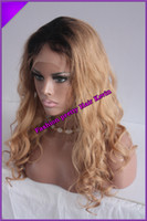 Cheap HOT Fashion two tone color #1b #27 Peruvian human hair ombre Full lace wig Front Lace wig for black women Freeshipping