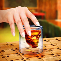 glass cups wholesale - Hot sale fashion glass ml Doomed Crystal Skull Shot Glass Crystal Skull Head Vodka Shot Cup Creative skull cup