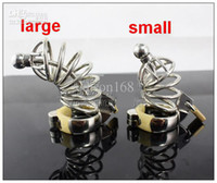Male Chastiy Belt Catheters & Sounds Chastity Cage Wholesale - New Male Stainless Steel cock Cage+Catheter Bondage Chastity Device toys SM Fetish Large,Small