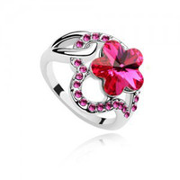 Wholesale Austrian crystal ring Crystal romantic cherry plum petals Rings linger wedding rings fashion rings new w106