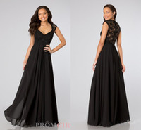 Wholesale 2014 Sexy Black Cap Short Sleeve with Lace Back Cheap Bridesmaid Dresses Long Chiffon Sheath Pleated Evening Prom Party Dress Gowns