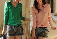 Women 100% Linen Button shirt Girl Green Spring Long Sleeve chiffon camisas femininas dudalina 2014 New Hot Sale Blusa Plus size Female Tops Free Ship