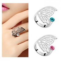 Wholesale 925 silver rings Austrian crystal ring diamond shiny glossy Czech Open Ring Adjustable size of the plume into a butterfly w108