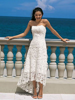 white high low dresses - Strapless High Low Tea Length Lace Beach Wedding Dresses White or Ivory Bridal Gowns Casual Spring Summer