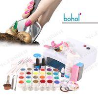 Wholesale 24 Color UV Gel nail decoration diamond glitter rhinestones manicure Tool Kits Sets w uv lamp U301