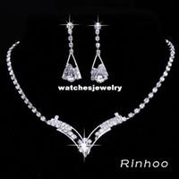 Bracelet,Earrings & Necklace Women's Wedding Wholesale-6Sets Wholesale Bridesmaid Bridal Wedding Jewelry Sets Rhinestone Crystal Jewelry Set Choker Necklace Earrings Free Shipping