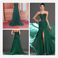 Reference Images Sweetheart Chiffon 2014 New Arrival Chiffon Sequin Beading Sweetheart Ruffles Floor-Length Split Front prom dresses Party gowns Custom Made A016