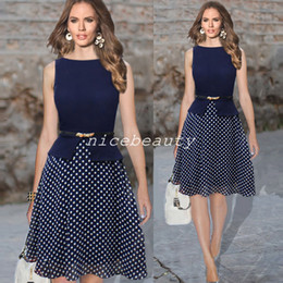 Wholesale 2014 women summer dress Vintage Celeb Belted Polka Dot Party formal dress Wear To Work Tunic evening party Dresses gown bty761