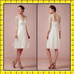 Wholesale Chiffon Lace Beach Wedding Dresses Long Sleeve Illusion V Neck Backless Pleats Summer Garden Sheath Knee Length Wedding Dresses