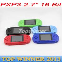 Wholesale 50pcs DHL Cheap PXP3 bit inch LCD Pocket Handheld Portable Video Game Player Players Console System Games RW PXP3