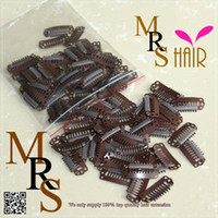 wig clips - Medium size cm dark brown teeth Clip DIY machine weft weaves extension strong snap clip for wigs black brown blond