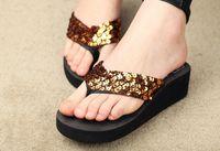 Wholesale Europe and the joker detonation fashion summer wedges sequins outdoor beach slippers sandals flip flops