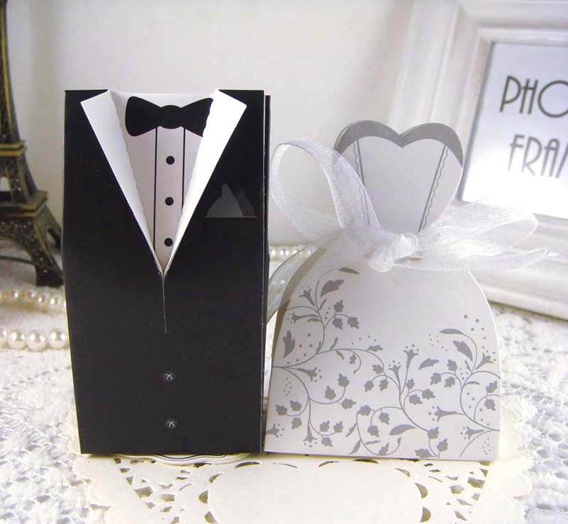 New Bride And Groom Candy Boxes Wedding Favors With Flower