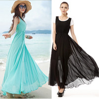 Casual Dresses U Neck Ankle Length 1PC Hot Vogue Summer Beach Boho Bohemian Lady Girls Solid Sunderss Crewneck Maxi Long Swing Dress Drop Free Shipping [CW04323]