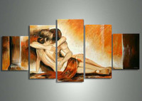 More Panel nude women oil painting - 5 panels hot naked hug girl body group women nude sexy oil painting canvas decoration hand painted oil canvas portrait art wall no frame