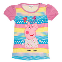 Girl Summer Standard Summer 2014 stock nova baby girl peppa pig clothes butterfly embroidery long t shirt short sleeve tshirts cotton tunic H4866