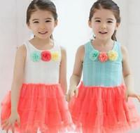 ruffle yarn - Hot Summer New Korean Design Girls Stereo Flower Vest Sleeveless Princess Dresses Kids Gauze Dress Girl Ruffle Yarn Vest Dressy I1084