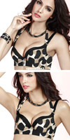 Bras Cotton Normal Wholesale-Fashion Sexy Leopard Push Up Side Support Plunge Detachable Halter Gel Padded Bra Free Shipping