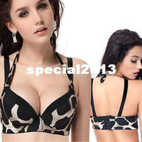 Bras Cotton Normal Wholesale-Hot Sexy Leopard Push Up Side Support Plunge Detachable Halter Gel Padded Bra