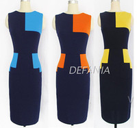 Wholesale 2014 new fashion sexy hit color stitching round neck sleeveless dress Cocktail dress for Women Office lady Clothing Yellow Blue Orange