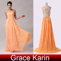 Spaghetti Straps grace karin - Cheap Price Grace Karin Sexy Backless Chiffon Ball Gown Spaghetti Straps Ruched Long Evening Prom Party Dress Size Orange CL6025