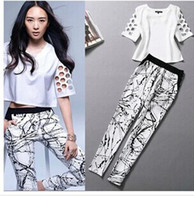2014 new fashion hollow sleeve printing shirt feet pants sui...
