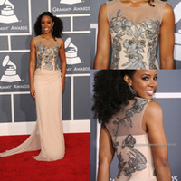 kelly rowland dress - 2014 Kelly Rowland Grammy Awards Red Carpet Celebrity Dresses Jewel Sheer Mermaid Brush Applique Sequins Prom Dress Evening Gowns BO5672