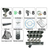 Wholesale 500G HDD Channel High def DVR System Black Surveillance Cameras