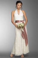 Wholesale Ankle Length Backless Lace Beach Wedding Dresses A Line Halter Neck Ribbon Belt Ivory Bridal Gowns Summer